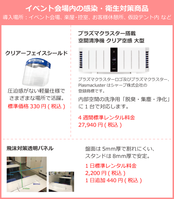 イベント来場者の感染・衛生対策商品